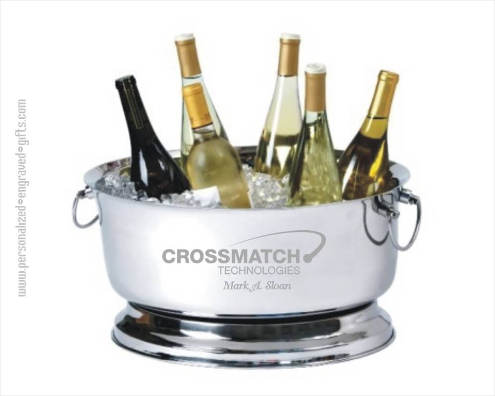 Engraved Stainless Steel Oval Party Tub - Wine Chiller
