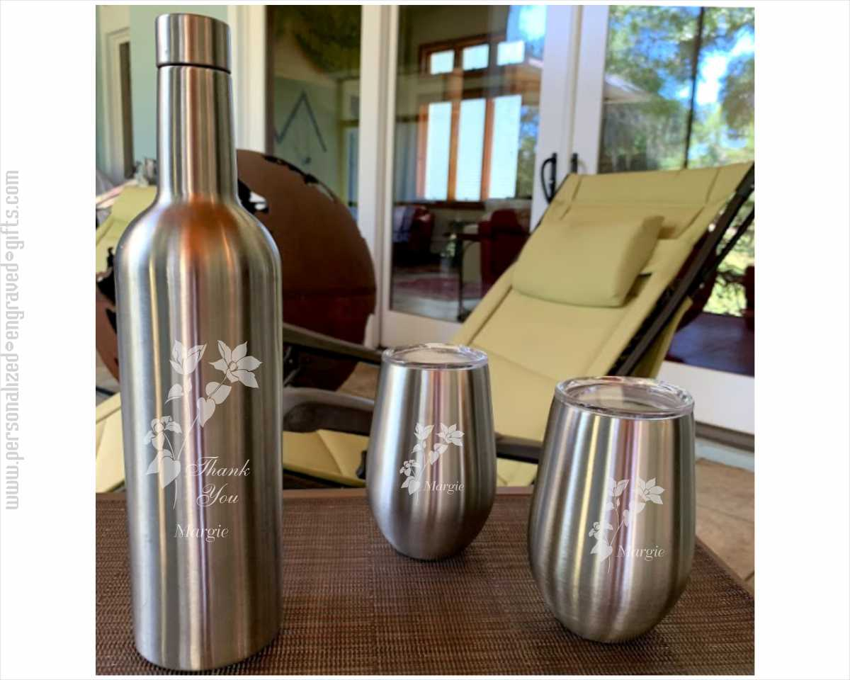 Engraved Stainless Steel Wine Flask with 2 Stemless Glasses