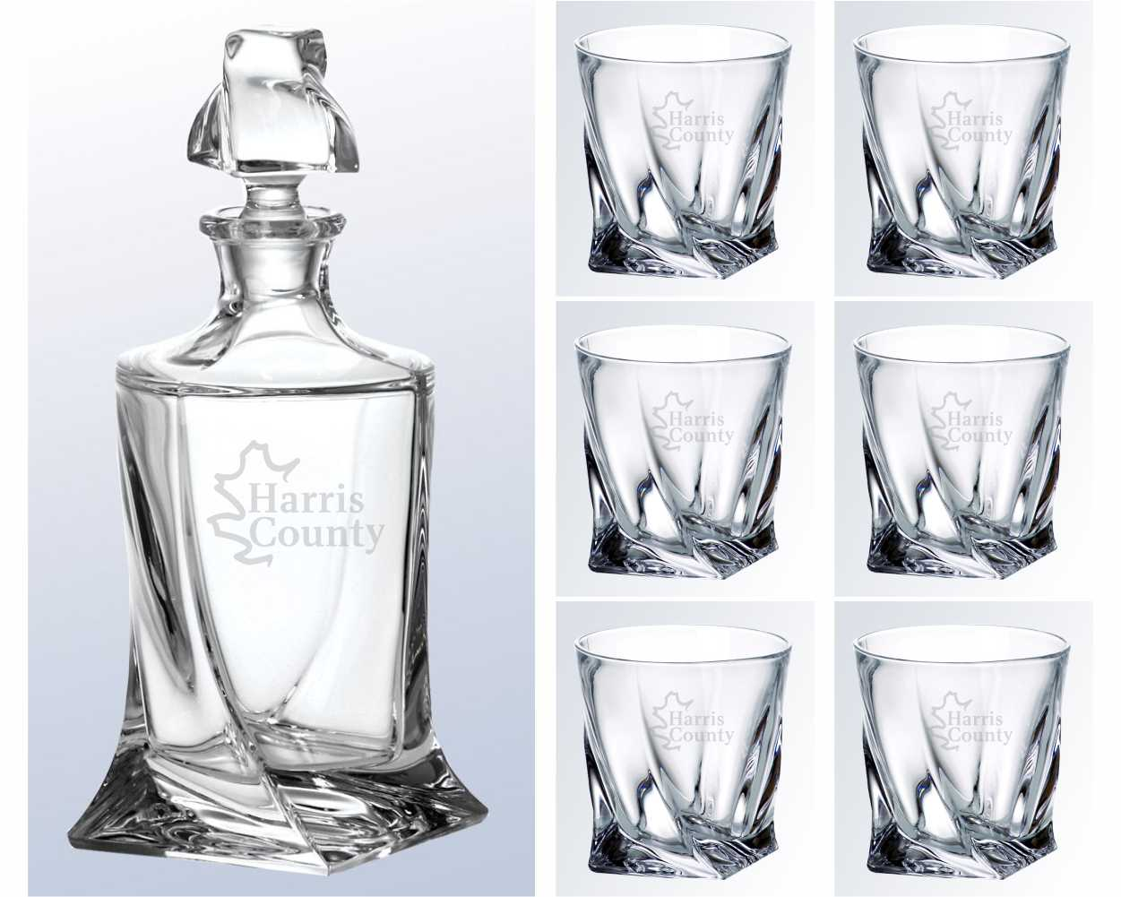 Crystal Engraved Whiskey Decanter with Glasses - The Swoop