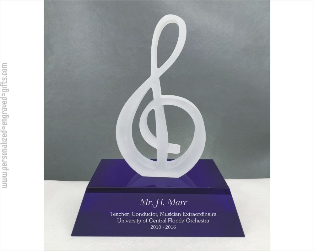 Glass Treble Clef Music Award on Custom Engraved Blue Base