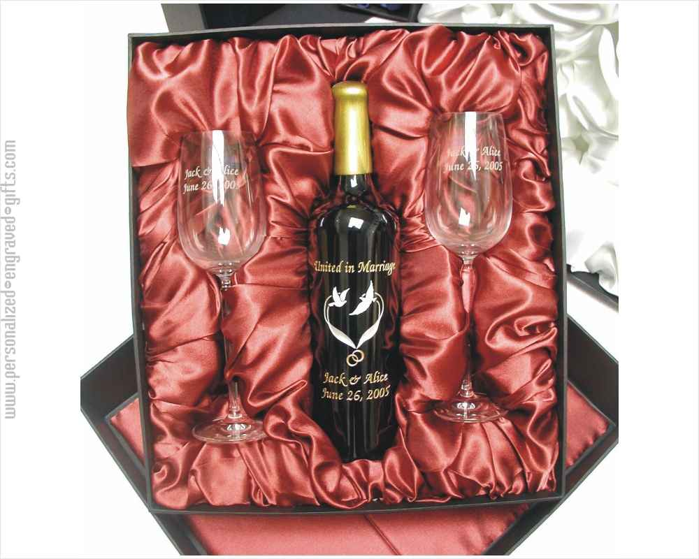 Deluxe Engraved and Hand-Painted Wine Bottle with 2 Engraved Wine Glasses Gift Set