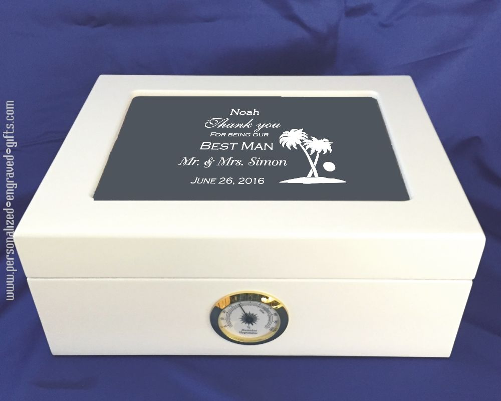 White Humidor with Glass Lid Personalized your Best Man