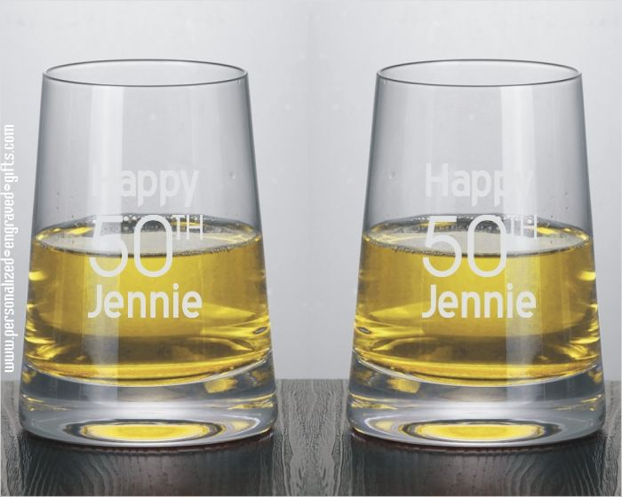 Modernist Stemless Engraved White Wine Glasses
