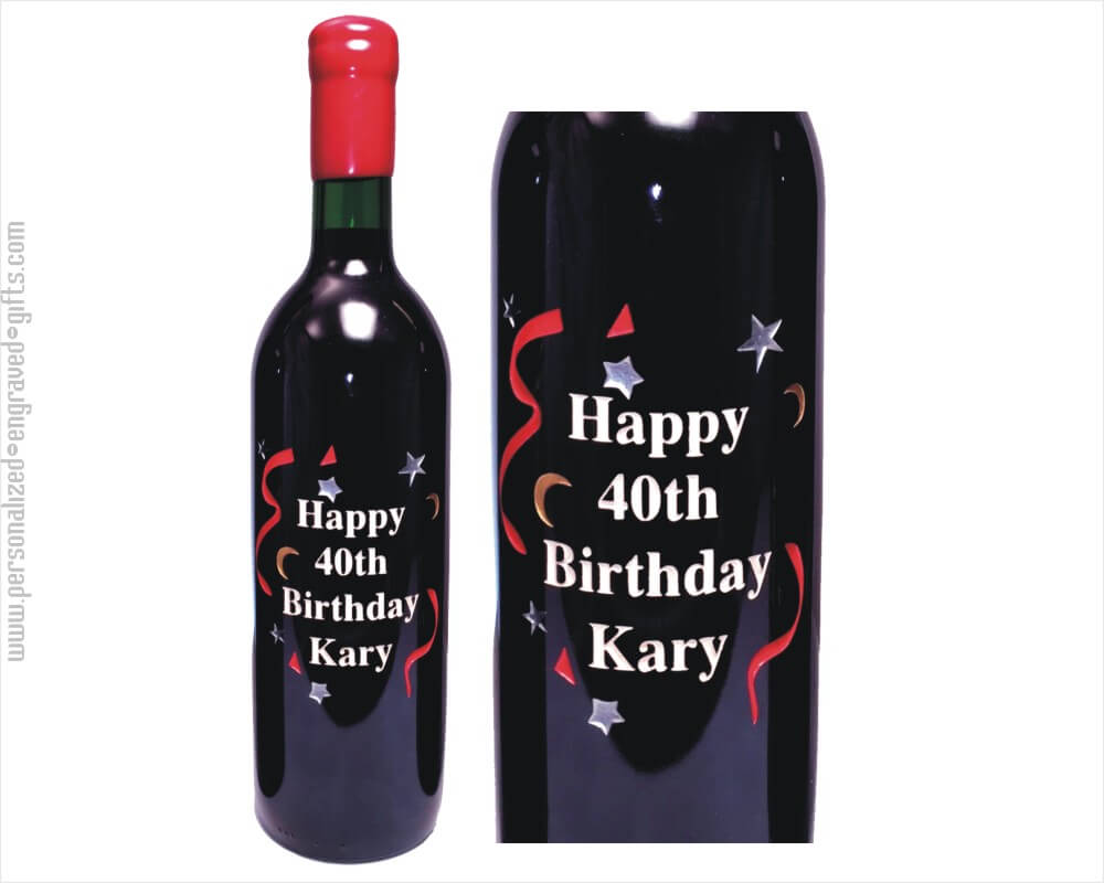 Happy Birthday Stars Design in Engraved Wine Bottle