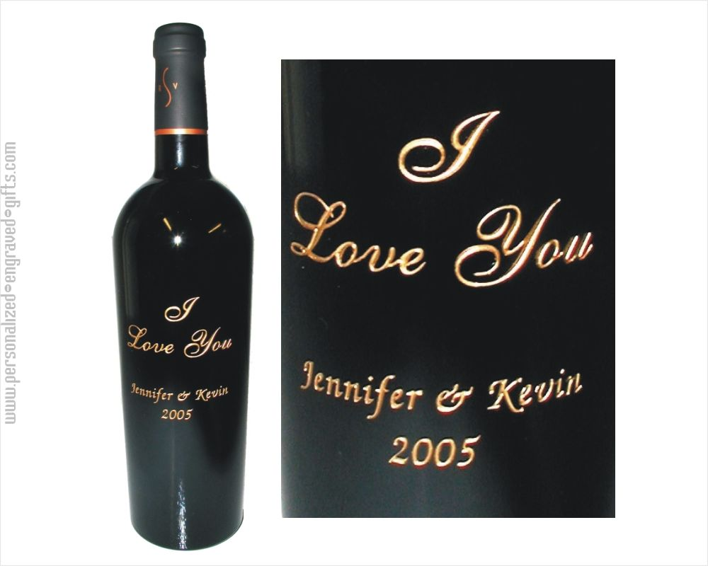 Engraved Wine Bottles For Wedding Gift : engraved wine bottles i love you i love you is deep etched and hand ...