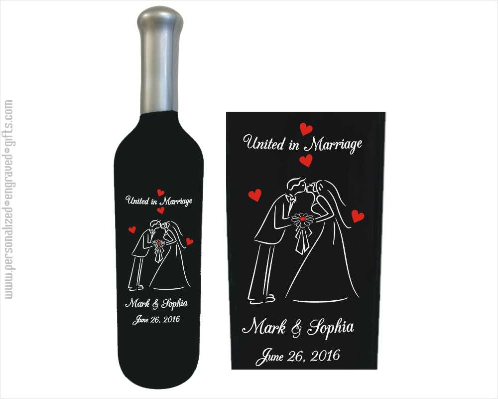 Kissing Bride and Groom Engraved Wine Bottle
