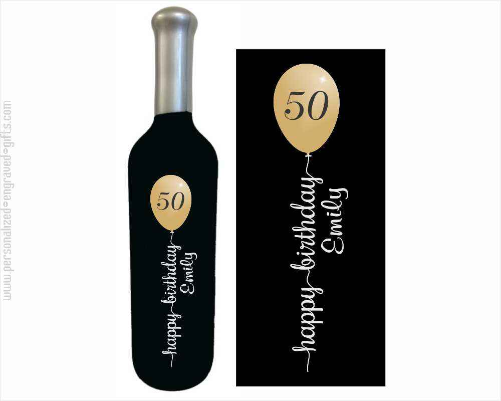 Personalized Wine Bottle Up, Up & Happy Birthday