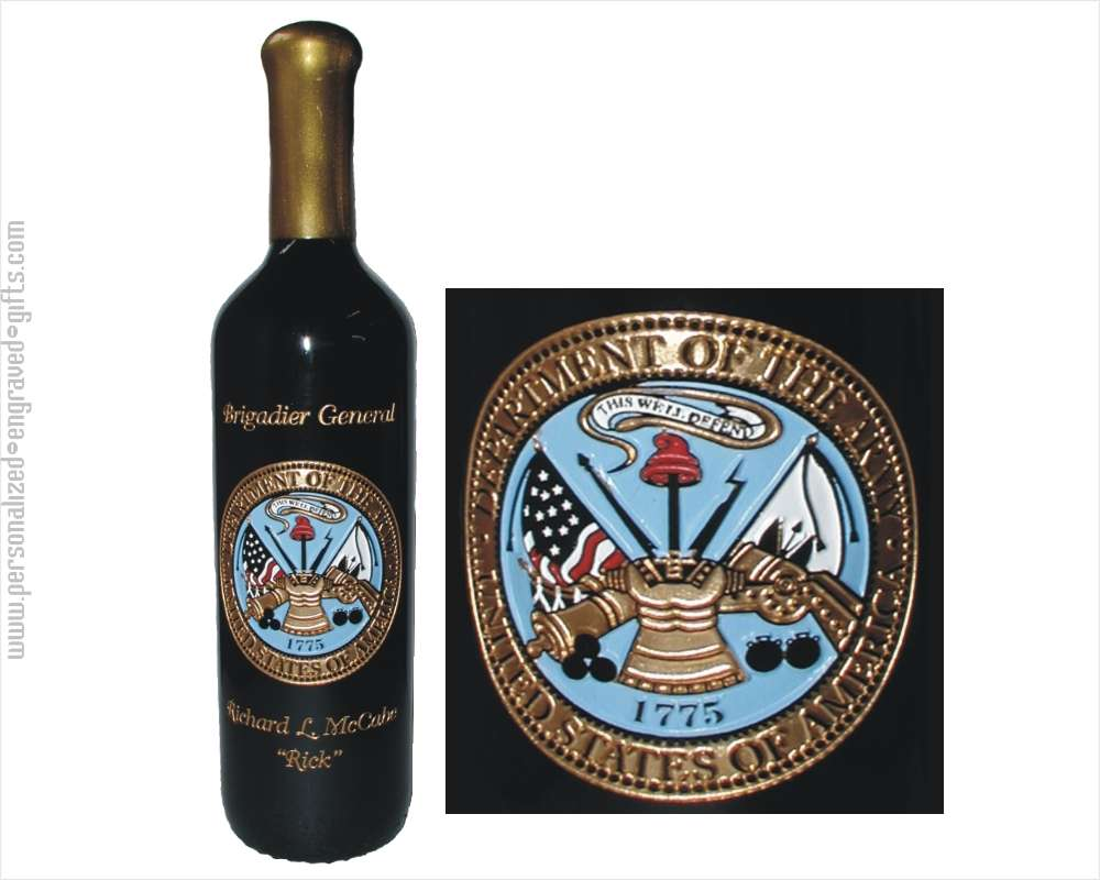 Engraved Wine Bottle - Army Logo