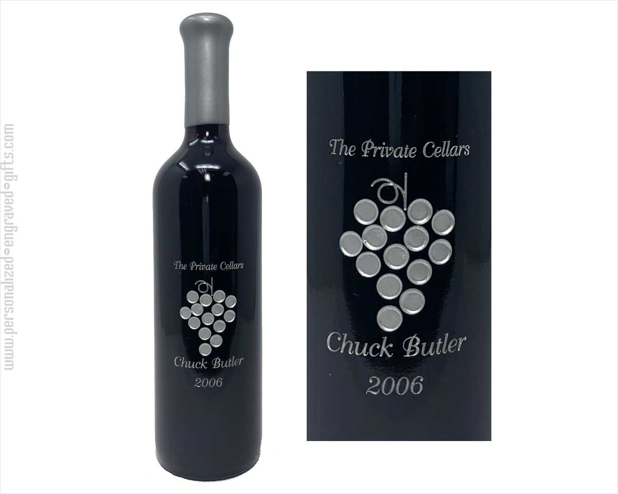Engraved Wine Bottles-Grapes 1