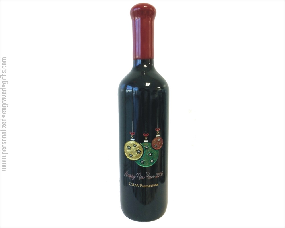 Personalized Engraved Wine Bottles - Holiday Ornaments Design 1