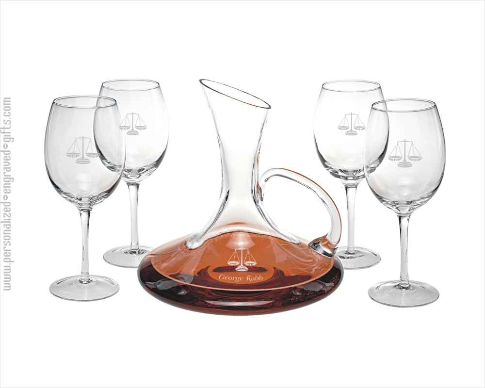 Engraved Wine Carafe with Easy Pour Handle and 4 Wine Glasses Gift Set