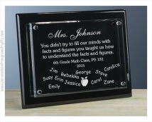 Engraved Black Piano Finish Wall Plaque with Floating Glass