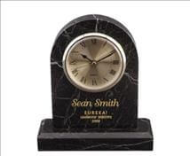 Engraved Arched Marble Clock - Black Zebra