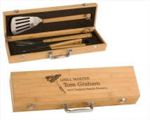 Laser Engraved Bamboo Barbecue Grill Master Gift Set