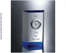 Engraved Crystal Aqua Marine Clock