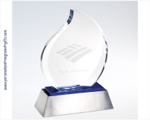 Engraved Eternal Crystal Flame Award with Blue Accent