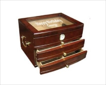 Personalized Mahogany Finish Humidor with Glass Top - Viceroy