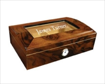 Engraved Walnut Burl Finish Humidor-Wesley