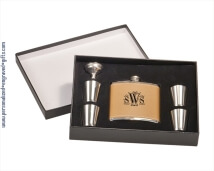 Personalized Leather Flask Gift Set with 4 Shot Glasses
