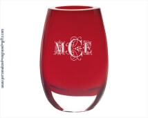 Dazzling 8 inch Red Crescendo Vase Engraved