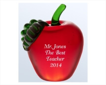 Engraved Red Apple Glass Award / Paperweight
