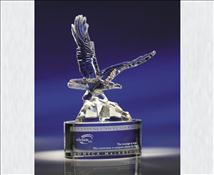 Engraved Crystal Award Soaring Eagle