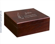 Engraved Walnut Finished Wooden Humidor - Charlie