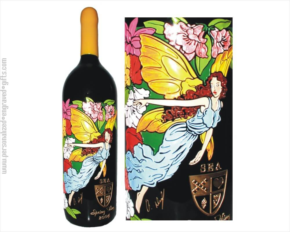 Multi Colored Fairy Deep Etched Bottle