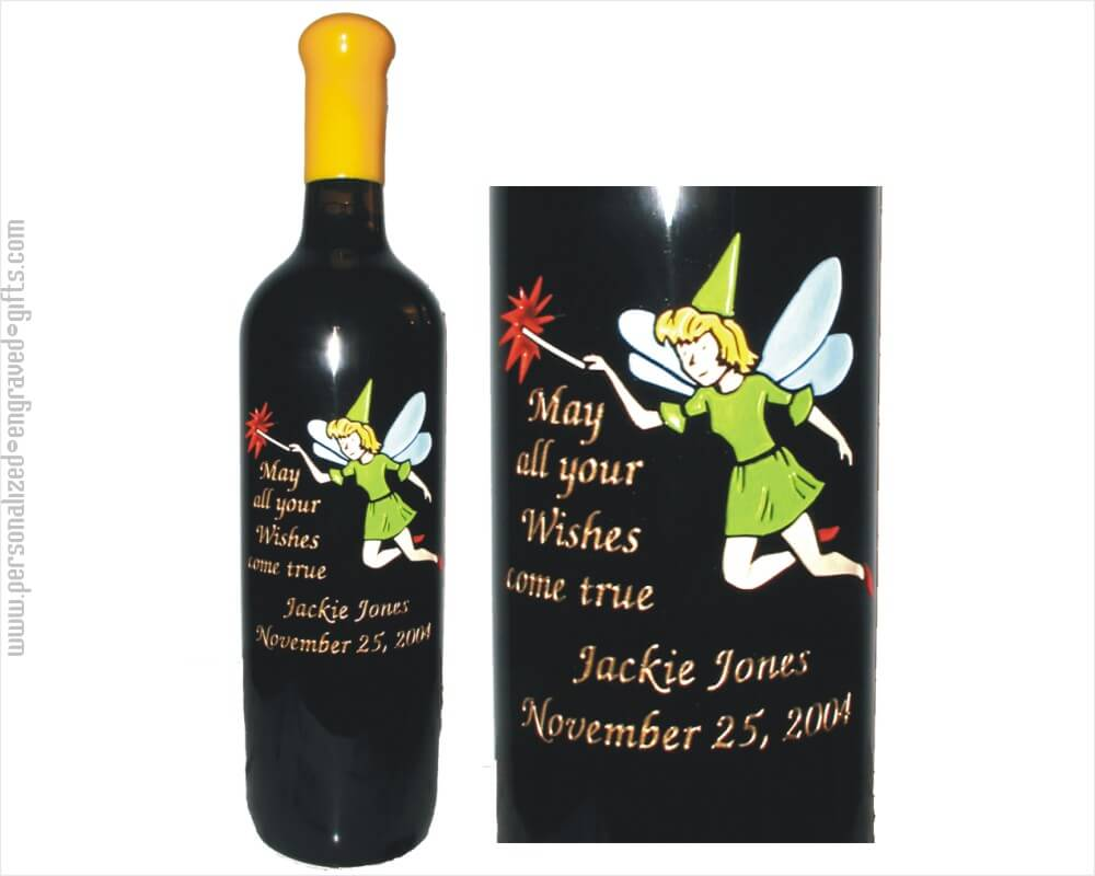 Fairy with Wand Personalized Wine Bottle