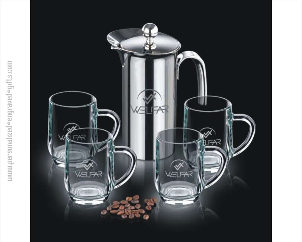 Engraved French Press Set with 4 Glass Coffee Mugs