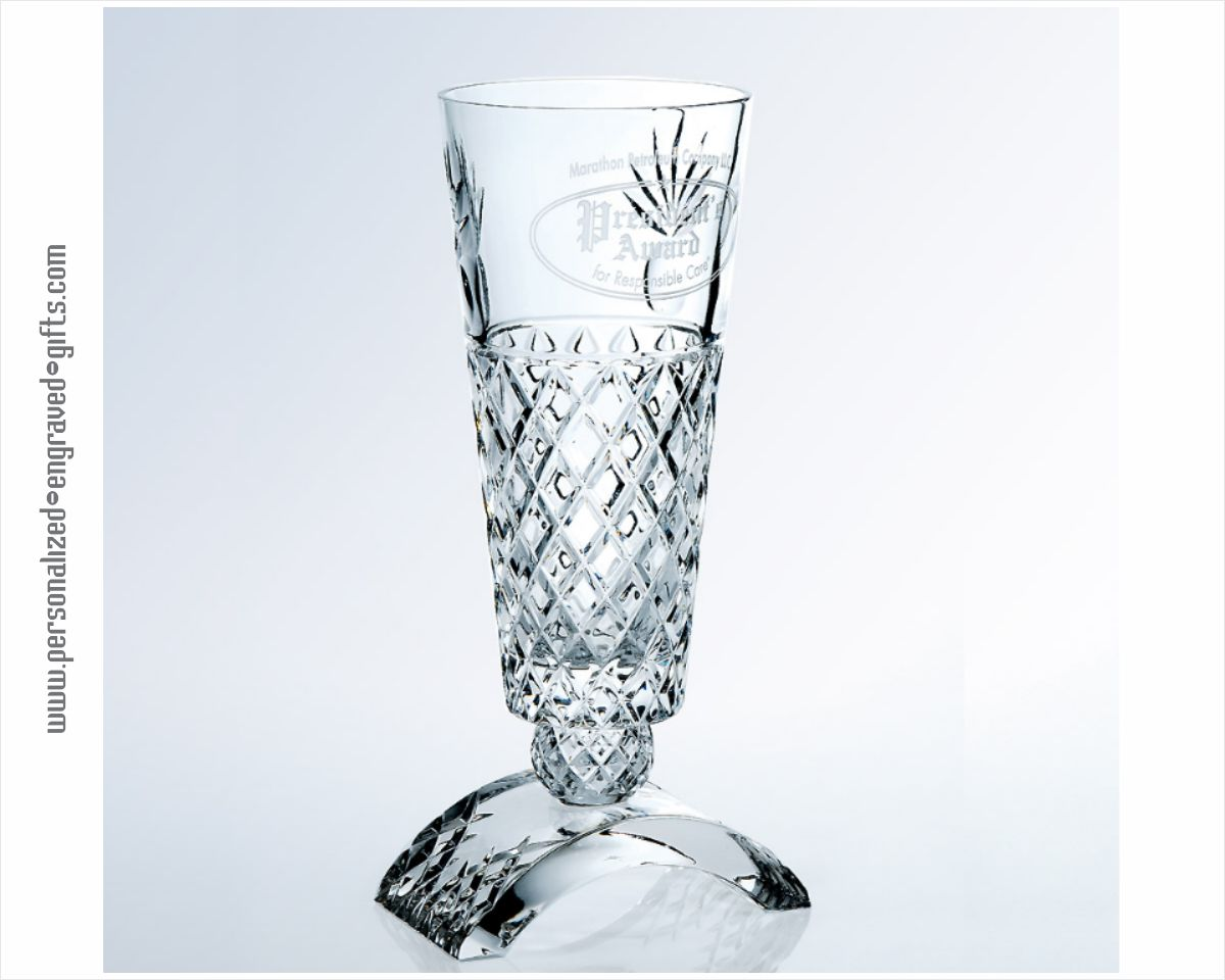 Full Lead Italian Crystal Isis Vase Meticulously Engraved