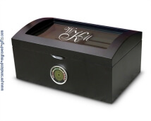 Personalized Matte Black Humidor with Glass Lid - Genoa