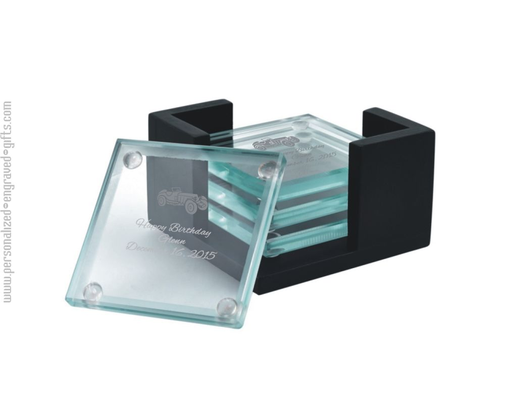 Glass Coaster Set with Black Holder Packard