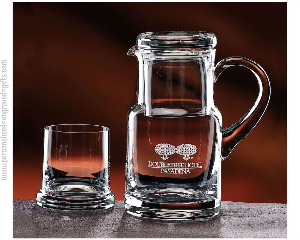 Glass Water Pitcher with Tumbler and Logo the Bureau