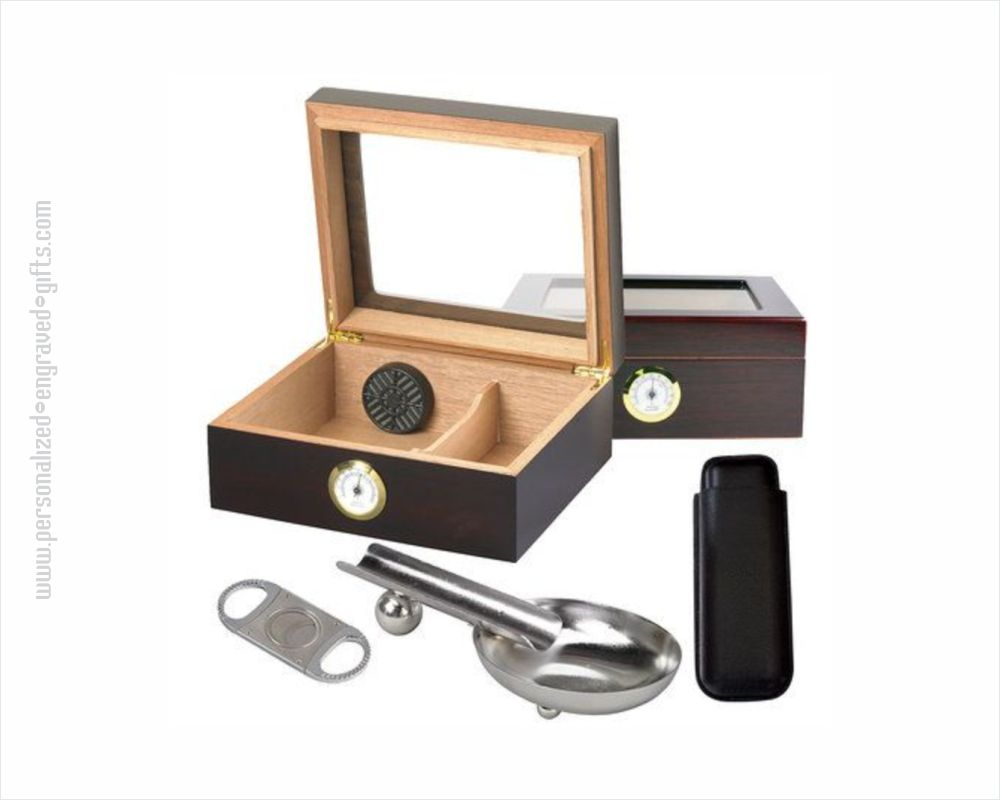 Personalized 4 Piece Humidor and Ashtray Gift Set