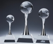 Engraved Crystal Globe Trophy on Chrome Towers