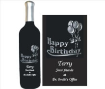Engraved Wine Bottles - Happy Birthday Design 1