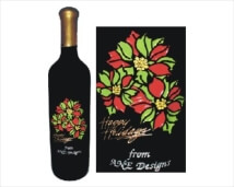 Engraved Wine Bottles - Holiday Poinsettia