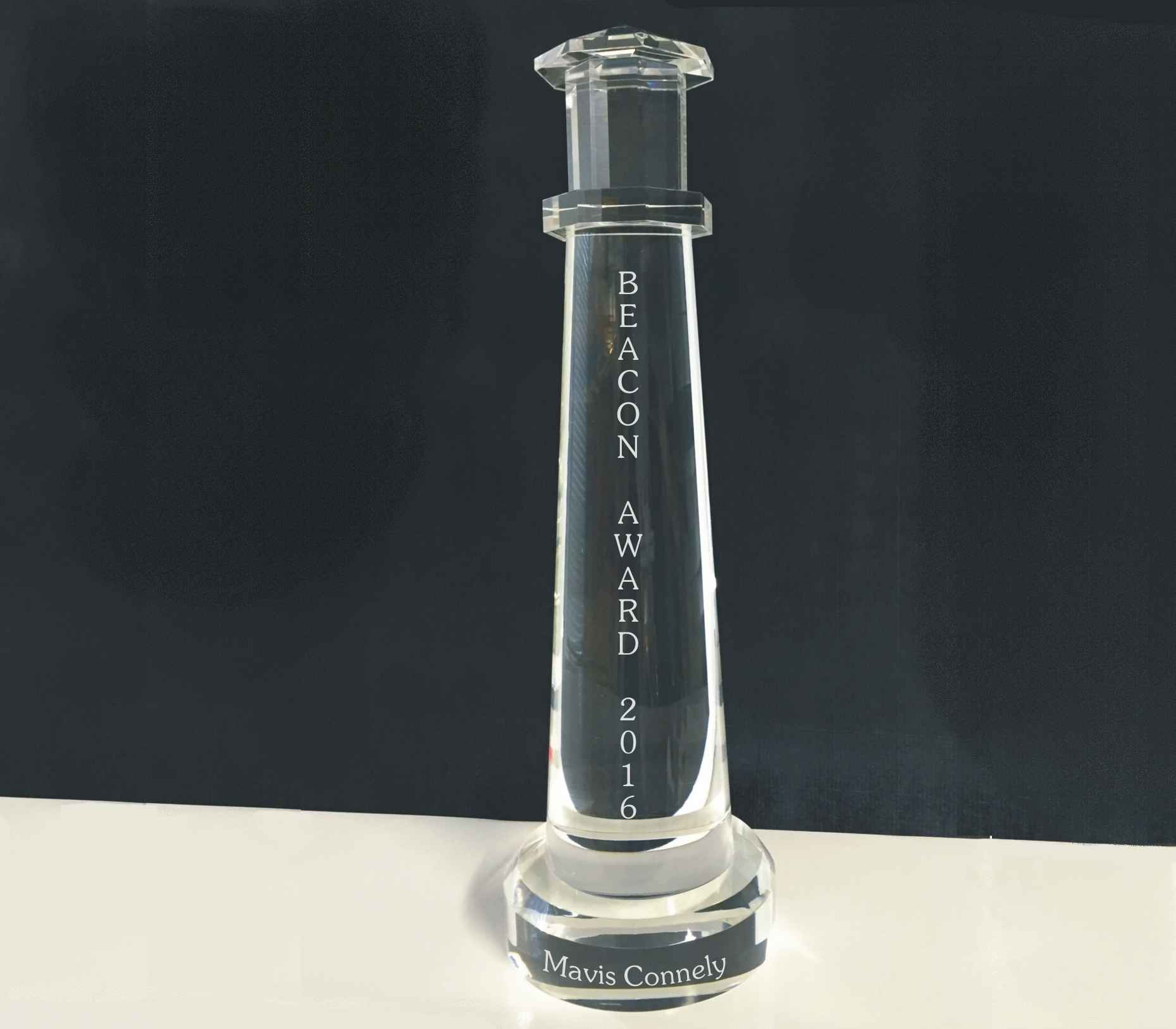 Huge Crystal Lighthouse Engraved Award, Portland