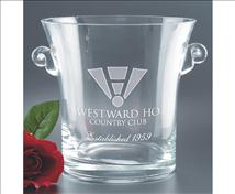 Engraved Crystal Classic Ice Bucket with Scrolled Handles