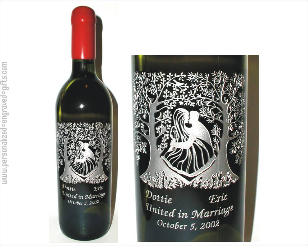Engraved Wine Bottles For Wedding Gift : engraved wine bottles kissing couple a kissing couple is deeply etched ...