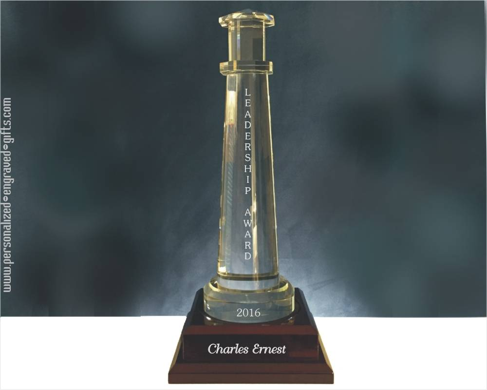 Massive Crystal Lighthouse Engraved Award on Wooden Base, Alexandria