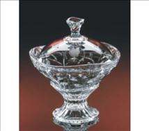 Engraved Pedestal Crystal Candy Dish Laurus