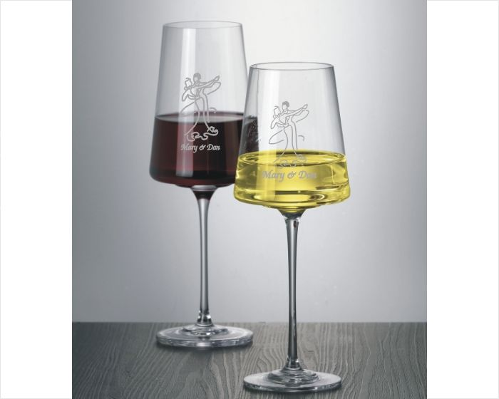 Modernist Red & White Crystal Engraved Wine Glasses