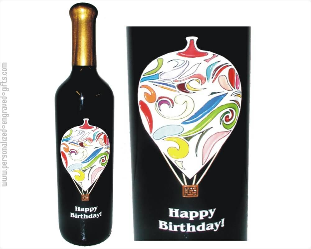 Multi Colored Ornate Hot Air Balloon Personalized Bottle