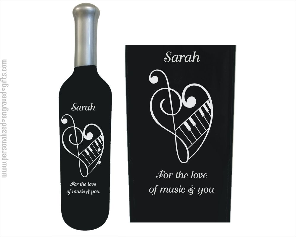 valentines day black with heart Personalised Wine Label engagement wedding