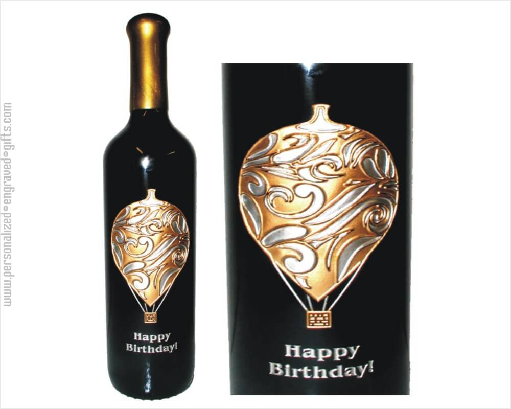 Ornate Hot Air Balloon Engraved Wine Bottle