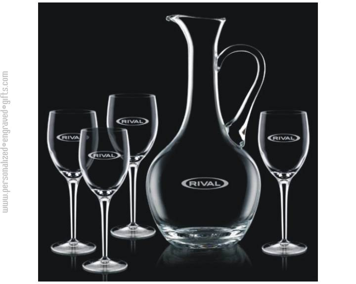 Custom Engraved Wine Carafe with 4 Glass Osiris Gift Set
