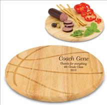 Laser Engraved Basketball Shaped Cutting Board