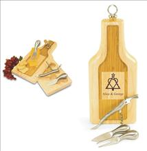 Engraved  Wooden Cheese Board Wine Bottle Shaped-Silhouette